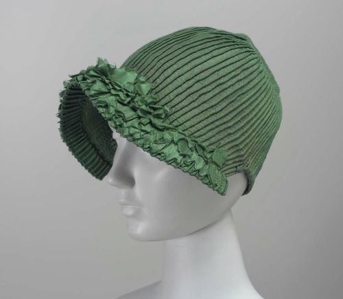 Bonnet, ca 1800's, the Museum of Fine Arts, Boston  Woman's bonnet, corded green silk.