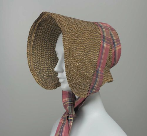 Bonnet, 1835, the Museum of Fine Arts, Boston  Black and yellow herringbone straw bonnet, plaid taffeta ribbons.