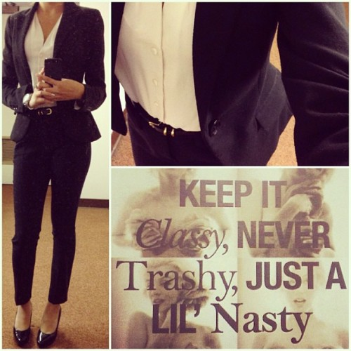 Keep it classy, Never trashy, just a lil nasty.💛 #fortheladies#keepitclassy#classy#nevertrashy#nasty#chic#ootd#outfitoftheday#suit#qotd#quoteoftheday#potd#photooftheday#woman#ladies#workmode#businessattire#barbie#tgif