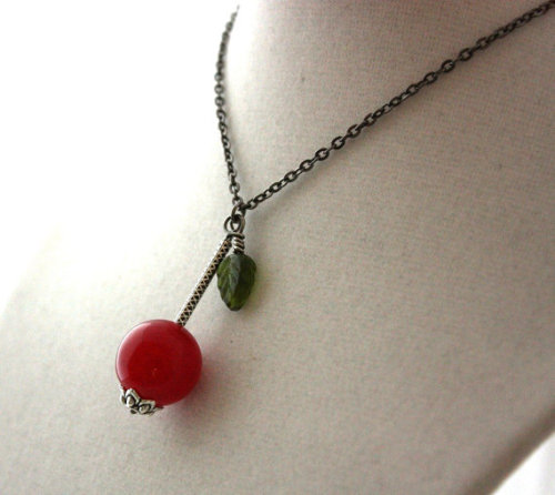 Cherry Necklace Cheerio Cherrylicious by WoodenNickelsJewelry