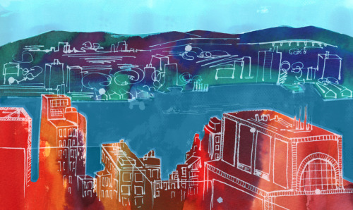a quick little illustration from Top of the Rock in NYC for a midterm assignment ink and photoshop