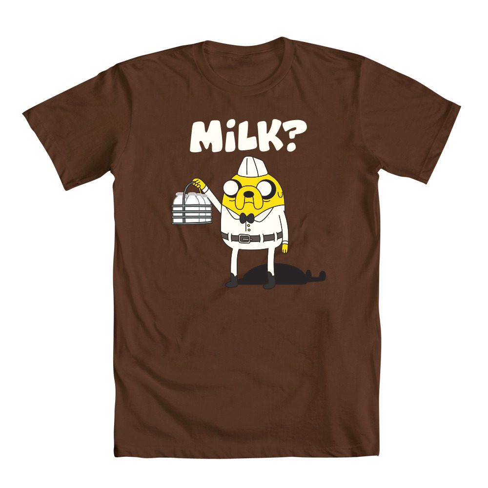 adventuretime:  Jake's Got Milk A new Tee from the Mighty Fine gang. Get this one as a Christmas gift for your milkman. Wait. Are milkmen even a thing anymore?