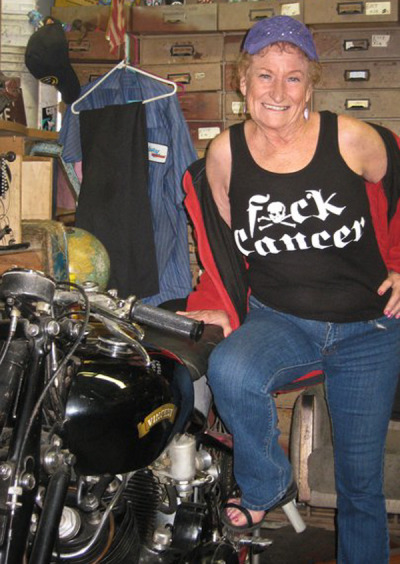 Owner of Century Motorcycles, Cindy Rutherford, amazing motolady and vibrant spirit passed away today. It's hitting the motorcycle industry hard as we all tear up remembering her amazing qualities. We need more women like Cindy in the world. Rest in peace, you bad mamma jamma. <3 And yeah, fuck cancer.