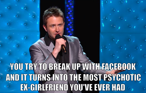 comedycentral:  Chris Hardwick's brand-new stand-up special Mandroid premieres tomorrow at 11/10c. Click the image to watch Chris talk about breaking up with Facebook and why he's afraid to return to Myspace.