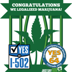 NOVEMBER 6 MARKS THE BEGINNING OF THE END TO THE WAR ON MARIJUANA. VICTORY!!!!!!!!!!!!!!!!!!! WEED HAS BEEN VOTED LEGAL FOR RECREATIONAL USE IN COLORADO AND WASHINGTON STATE. WAKE UP AMERICA WHO'S NEXT?????