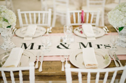 burnettsboards:  unique way to display Mr & Mrs at your reception table!