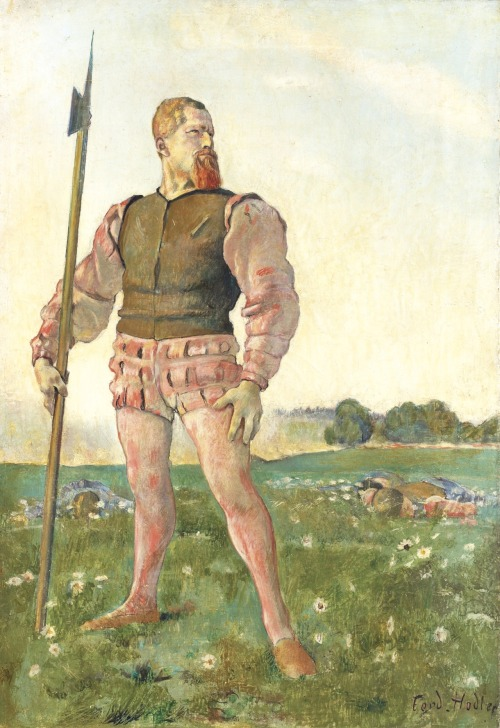 blastedheath:  Ferdinand Hodler (Swiss, 1853-1918), Der Zornige Krieger [The Angry Warrior], 1884. Oil on canvas, 50 x 34.5 cm.