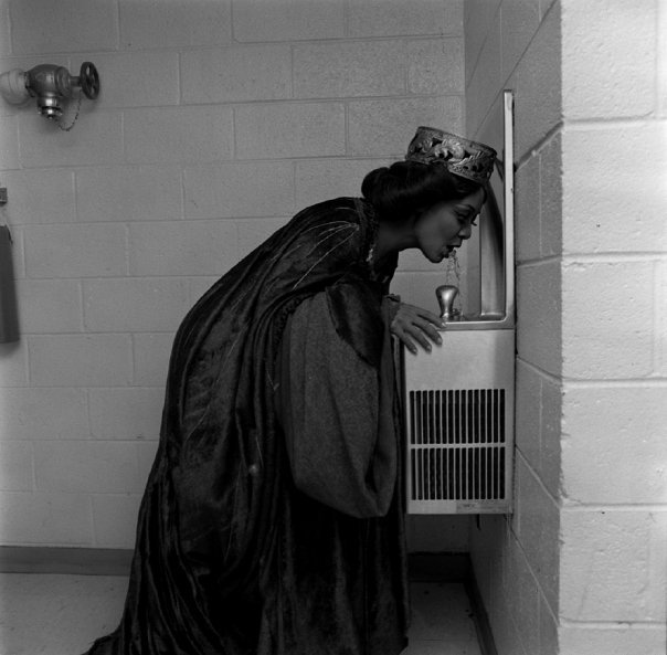 Lady Macbeth takes a sip of water.  eyescaught:  Shirley Verrett (Lady Macbeth) backstage at La Scala, Milano, 1975