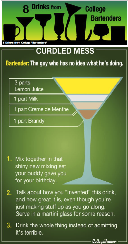 "collegehumor:  8 Drinks from College ""Bartenders"" [Click to continue] Milk is definitely a bad choice here."