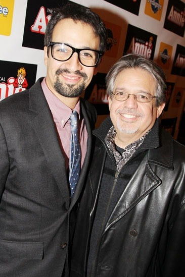 Tony winner Lin-Manuel Miranda told us he first heard the music from Annie when he was in high school! Here he is with his dad, Luis.