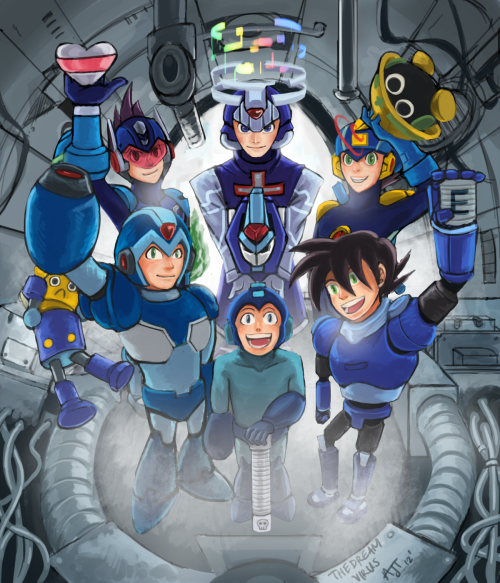 thedreamvirus:  Celebrating 25 Years of Megaman!Click HERE for the video tutorial of this painting.