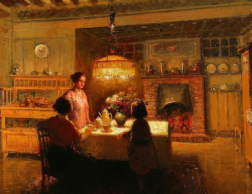 Edouard Leon Cortes Interior by Lamplight Early 20th century