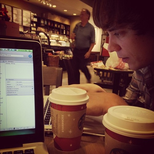 #fmsphotoaday November, Day 8: Something I Do Every Day — Write, drink coffee, look at this guy, & use Apple products.