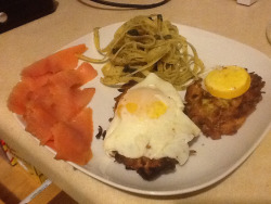 Smoked Salmon with Zuchini Cakes and Dill Fettuccine Pasta
