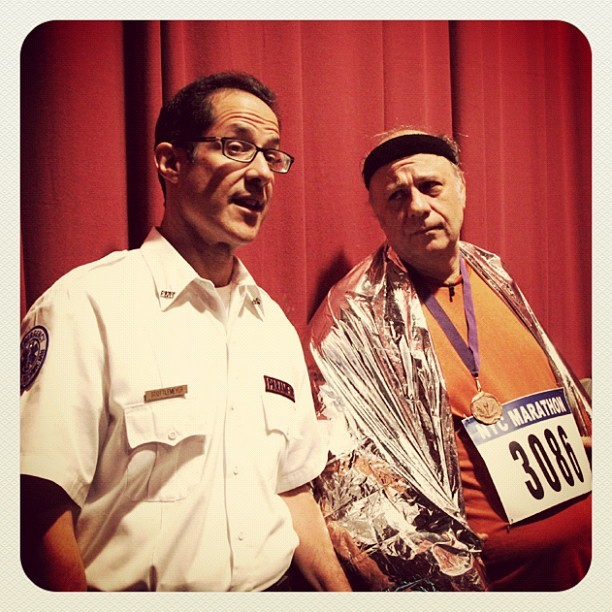 Disappointed NYC Marathoner and medic. A.K.A. Eddie Peppitone & Jose Arroyo (at Warner Bros Stage 15)