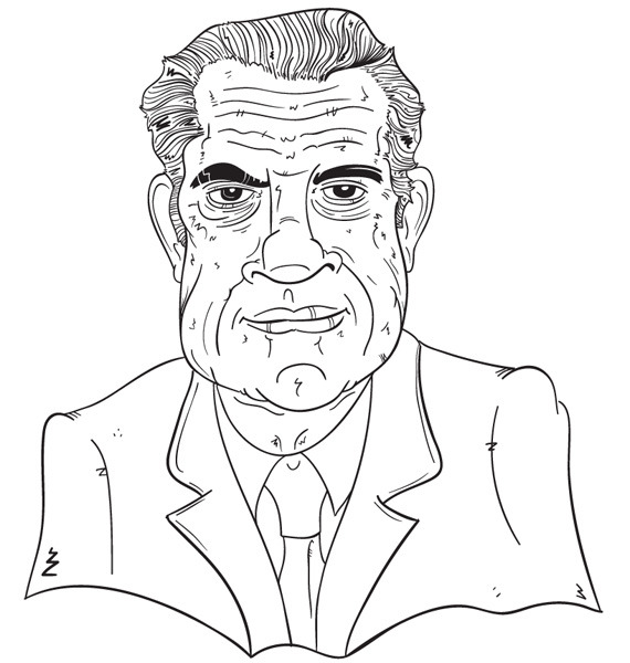 "#37 - Richard ""Dick"" Nixon has a pretty good first term in office, setting up the EPA, desegregating southern schools, transferring powers over to the states, and starting the war on cancer and drugs. It really is the war business he should have stayed out of. The Vietnam War forces were increased under his reign, and of course there was that whole Watergate scandal (curse you Forrest Gump and your simple ways!). He ended his second term resigning before being impeached and getting his Vice President to pardon him of all wrong doings. He lived out his days talking to Checkers and writing books."