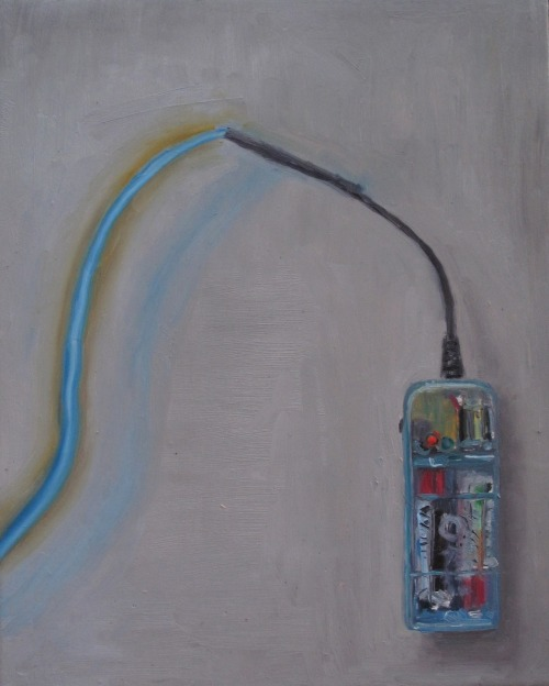 Blue glow wire and battery pack. 8x10 inches Oil on wood