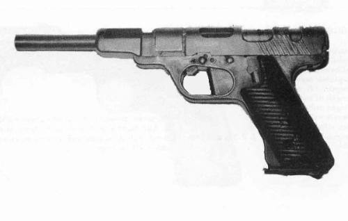 rareantiqueandbeautifulfirearms:  WWII Volkspistole, an unusual weapon designed as part a futile last-ditch attempt to arm the German civilian population as a defensive force. One of the first to employ the gas operated delayed blowback operating system now used on the Heckler & Koch P7.  I think the barrel sleeve is on backwards. It should not protrude past the end of the slide.