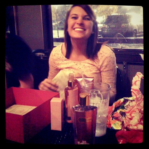 My sisters 18th birthday. 2 Victoria's secret gift cards and a box full of Victoria's secret shirts and body stuff. #addicted