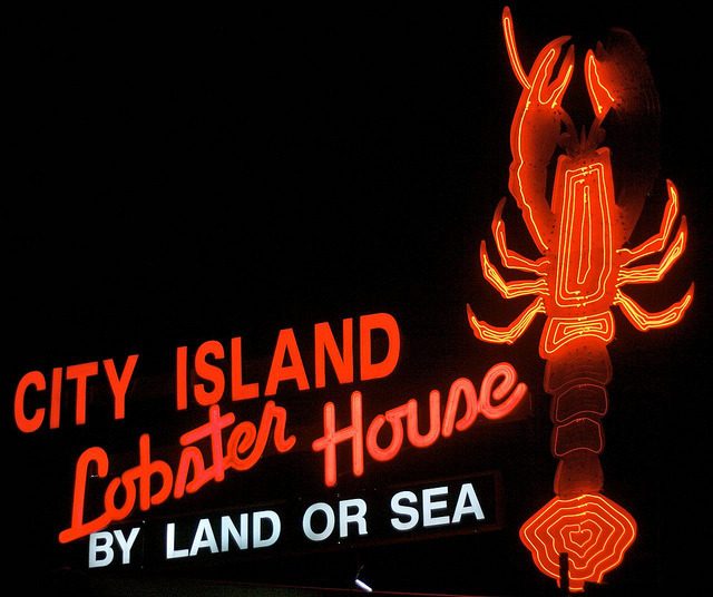 RIP Lobster House neon(on City Island, on Bridge Street between City Island Avenue & Minnieford Avenue)  The New York Neon blog reports that the iconic City Island Lobster House sign was destroyed by Sandy. Happily the restaurant itself is up and running, but I'm sad that such a great sign has been lost. I'm glad I was able to visit while it was there. (Here's what it looks like now.) Another neon loss reported in that same New York Neon blog post is the lovely Shore Theatre sign in Coney Island. It was missing its tubing, so I never saw it lit, but it was nevertheless a landmark of Coney Island. Another serious blow to New York's neon collection. As you may have heard, Sandy's effects are still being felt by too many residents & small businesses of New York & New Jersey. Some suggestions for how you can help are in my last post.