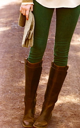 green pants, tall boots