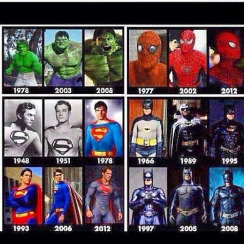 #Superheroes gone #Hollywood thru the years…. #Hulk #SpiderMan #Superman #Batman #DarkKnight #Comics