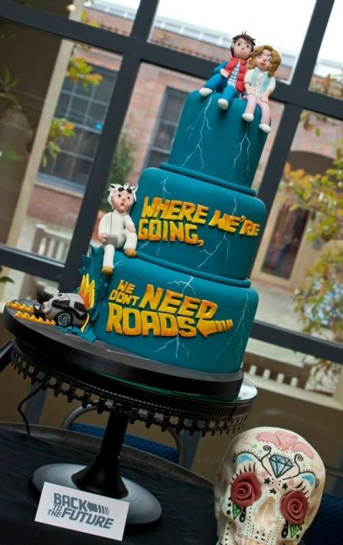 Awesome Back to the Future wedding cake.