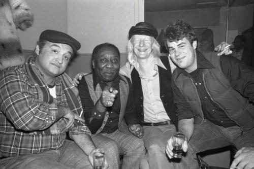 awesomepeoplehangingouttogether:  John Belushi, Muddy Waters, Johnny Winter and Dan Aykroyd
