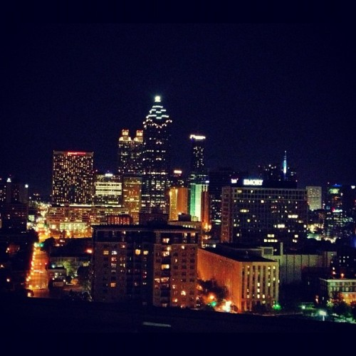 Rooftop view of my city tonight. Enjoying the stars and wine with @persephoneluna #love #city #atl #atlanta #lights