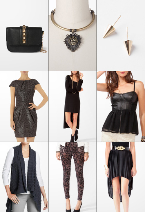 The Haute List :: $25 & Under Studded Bag :: Skull Pendant Collar :: Spike Earrings Grey Jacquard Dress :: Studded Dress :: Perforated Bustier Asymmetric Vest :: Lace Leggings :: Pleated Skirt