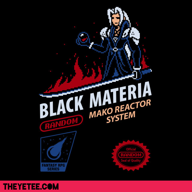 Mega Ran: Black Materia by Drew Wise!This weekend we bring you an exclusive design in partnership with the amazing Teacher/Rapper/Hero Random aka Mega Ran. Drew Wise designed this awesome tee in honor of Mega Ran's Final Fantasy VII album Black Materia.This shirt isn't just a shirt… It comes with a bonus. Everyone who buys this shirt will get an previously unreleased, exclusive download of a remixed track from Black Materia!Pick up this shirt for game cred but also to support one of the awesomest rappers (in The Yetee's Opinion)
