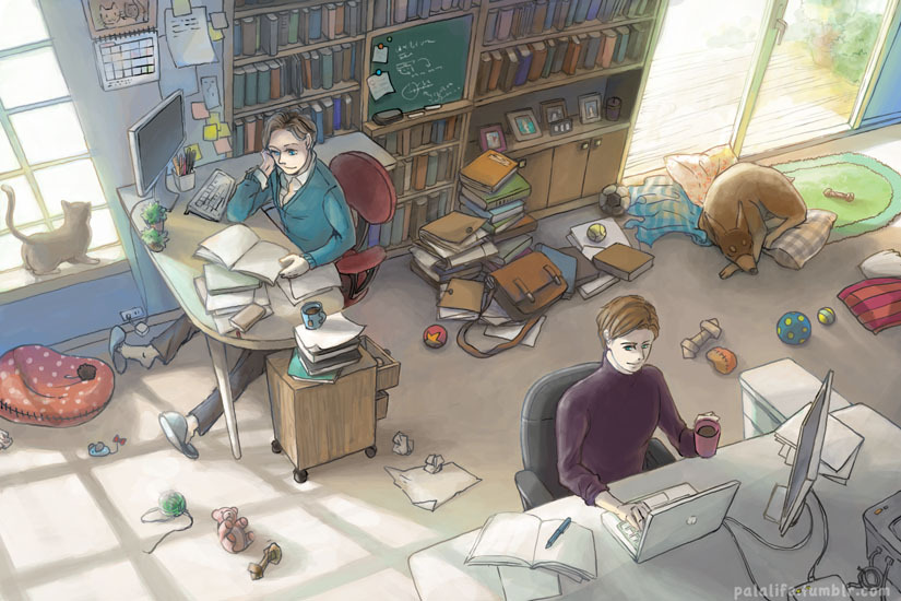 euphorbic:  palalife:  Their study room. I just want to draw something domestic. And also environment, something that will take me several days at least XD Though didn't draw thumbnails and proper perspective line is a bitch… Somehow this is a way I am guessing how their common work area will look like? They will choose their own side of furniture because it's important to customize your working area at home to your own preference! ;D And then cat!Charles and dog!Erik's toys will just randomly spread across the room Now I can move on to next project  I will now commence with printing out the two copies. You know, the one to put on my wall and the other roll all over. This is amazing. Perspective, color, mood, detailsdetaildetails, all the books and toys. I know you got really annoyed and tired of this illustration, but the results are staggering.
