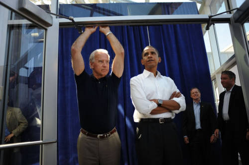 "team-joebama:  Flashback 2008: NY Daily News  Running mates Joe Biden (l.) and Obama in Toledo, Ohio, in August. 'I kind of have a crush on Joe Biden,' [campaign photographer Scout] Tufankjian says. 'Obama introduced him to me. He said, ""Joe, this is Scout … "" [He] takes one look at me and puts his arms up like that. He looks good, right?'"