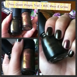 Want zaterdag is de manicure dag #Notd #nails China Glaze Wagon Trail + MAC Mean & Green