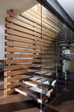 justthedesign:  Staircase in Timber And Glass