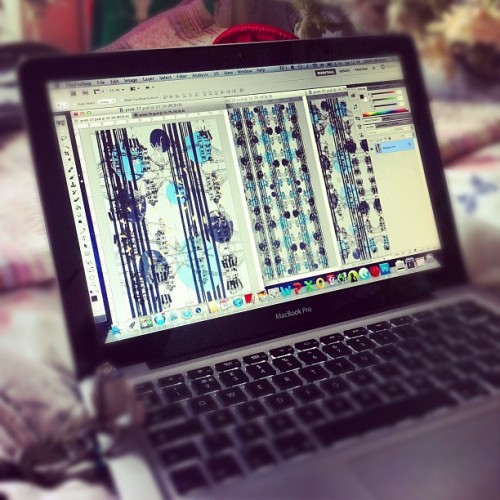 missmeaney:  Banging out the print designs today!! #print #textiles #design #uni #london #missmeaneys #pattern #experiment #working #art #artwork