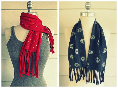 DIY Stamped Tee Shirt Scarves Tutorial from Wobisobi. Love these scarves that don't use conventional scarves? Don't have a skeleton skull stamp? Improvise. Left Photo: Red Tee Shirt with Gold Polka Dots Scarf Tutorial from Wobisobi here. RIght Photo: Skull Stamped Tee Shirt Scarf Tutorial from Wobisobi here.
