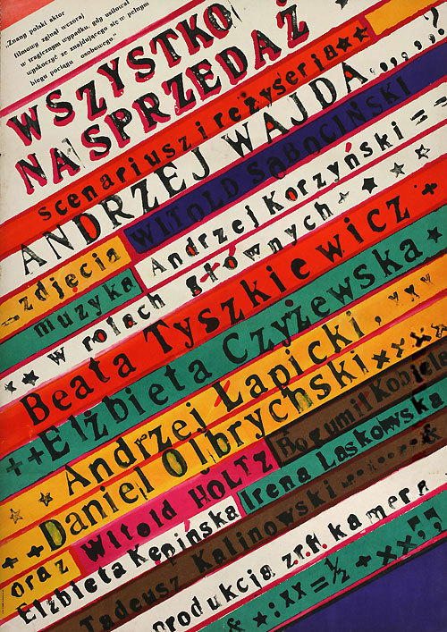 1968 Polish poster for EVERYTHING FOR SALE (Andrzej Wajda, Poland, 1968) Designer: Franciszek Starowieyski (1930-2009) [see also] Poster source: Terry Posters