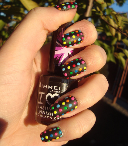 kasnailsandsuch:      Black matte nails with rainbow colored dots. Very pretty!