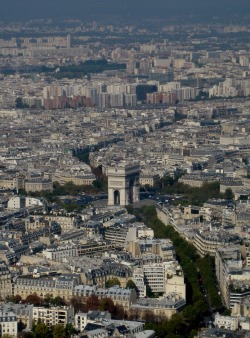The Arc de Triomphe as viewed from the Eiffel Tower. Paris, France. Photo by Amber Maitrejean