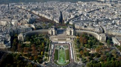 The Palais du Chaillot and the Gardens of the Trocadéro as viewed from the Eiffel Tower, Paris, France. Photo by Amber Maitrejean