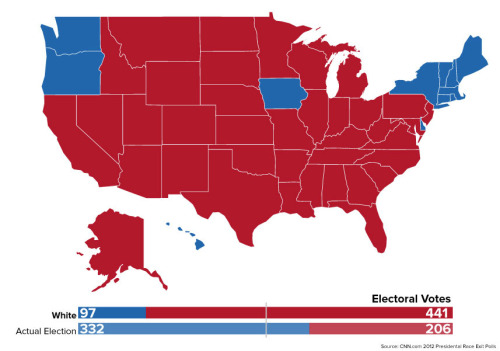 quickhits:   	The electoral college map if only white people could vote.  	Still wondering what all that voter suppression was all about? There you go. Romney landslide.