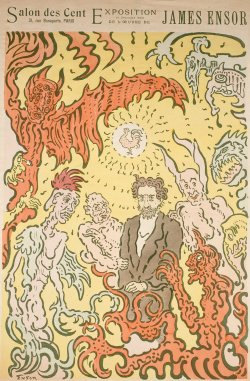 Ensor amidst his demons. Cover of a magazine special celebrating James Ensor's exhibition in Paris (1898). Found here.