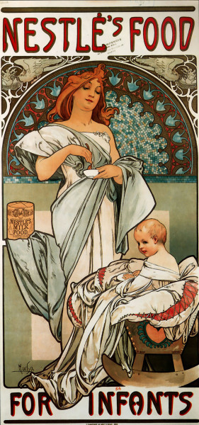 glonno:  Alfons Mucha, Nestlé's Food for Infants, 1897.