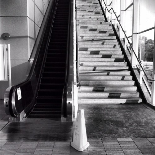 One or the Other #stations #stairs #escalators #architecture #concrete #glass #industrial #decisions #existentialism #city #urban #blackandwhite