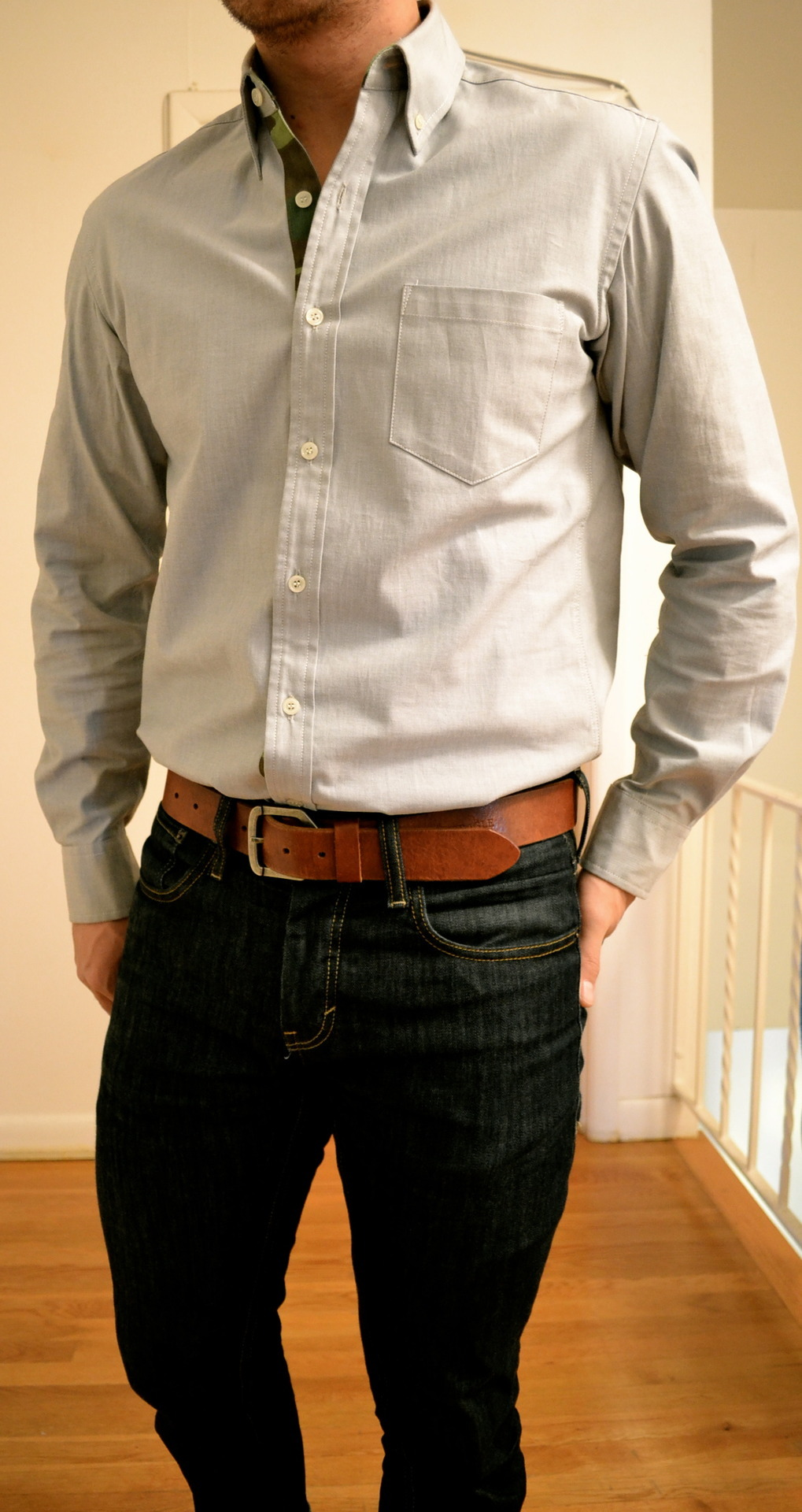 Shirt by 50/50 Supply Co. Denim by Levi's Belt by J. Crew Coat by J. Crew Scarf by H&M