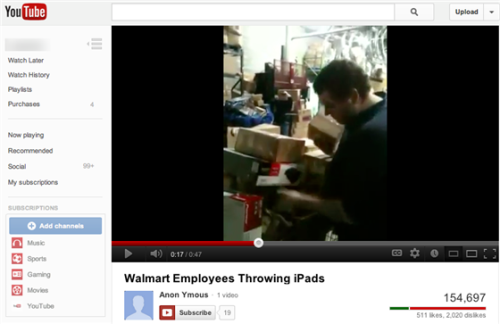 "Walmart: iPad-throwing employee video 'made us wince' (Photo: YouTube)  ""Hi! This is why you don't buy an iPad from Walmart,"" a young man explains at the beginning of a YouTube video before turning the camera to his fellow Walmart associates, who are throwing — and occasionally dropping — some boxes. ""See? We like to throw s***,"" the man clarifies, while standing in the stockroom of a Walmart in Pikeville, Kentucky. ""That's iPad number three we've thrown."" Those at Walmart's corporate offices were not amused by the antics. Read the complete story."