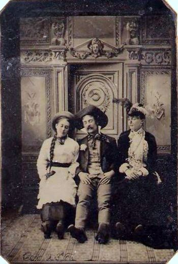 ca. 1880-90's, [tintype portrait of three friends, perhaps playing dead] via Ebay