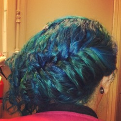 satisfyingsindy:  I love my hair!!!!! #bluehair #greenhair #braid #updo #me #hair