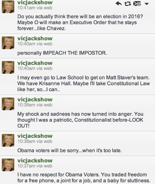 Former SNL cast member Victoria Jackson in the midst of a total Twitter meltdown right now. Check out more of her anti-Obama history here.